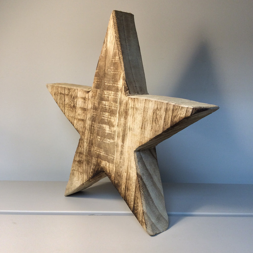 natural wood star