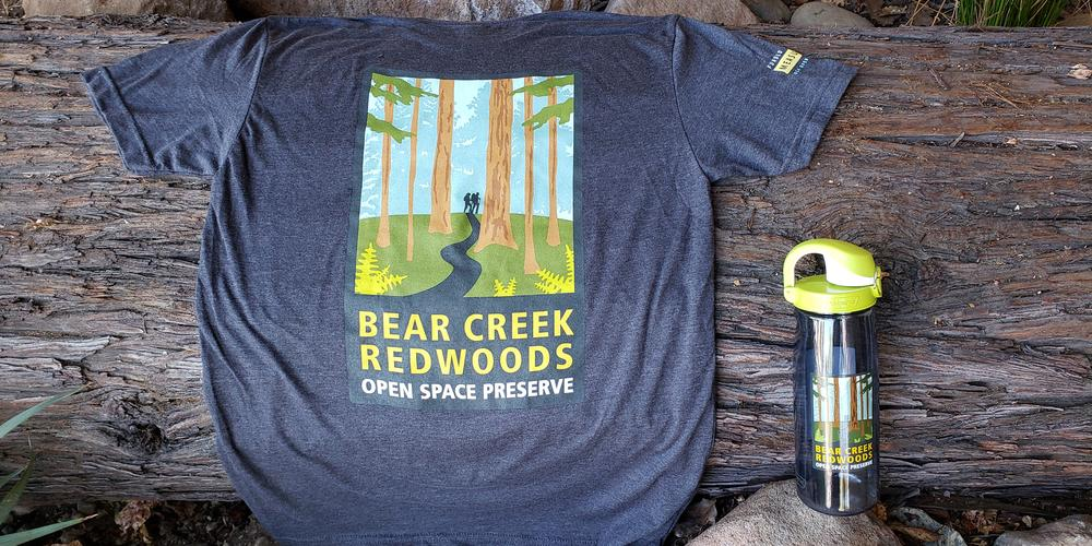Bear Creek Redwoods t-shirt and water bottle