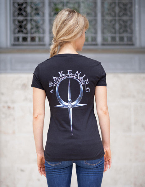 Women's  Black V-Neck Tee