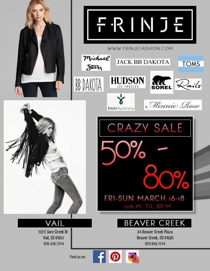 Come visit our Vail and Beaver Creek locations for our CRAZY SALE