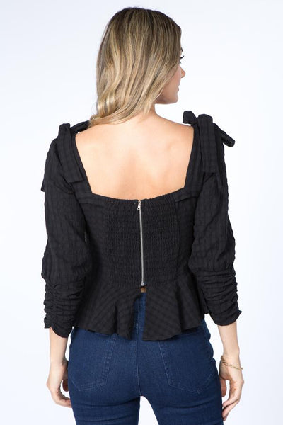 black blouse with back zipper