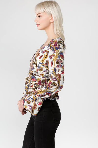 women's top with paisley print