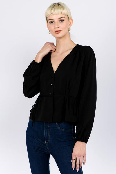 black blouse with tie waist