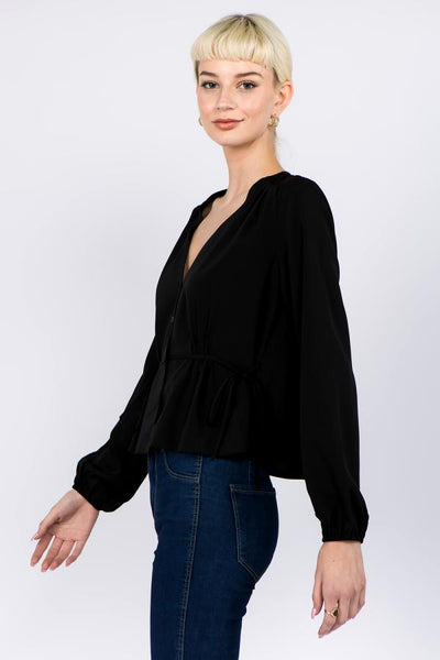 Fanco clothing black v neck blouse with tie waist