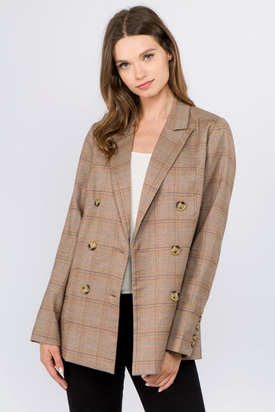 brown checkered blazer
