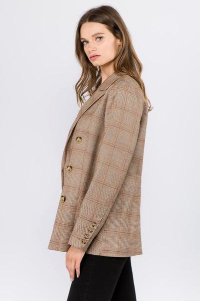 womens 3-button blazer jacket in brown color