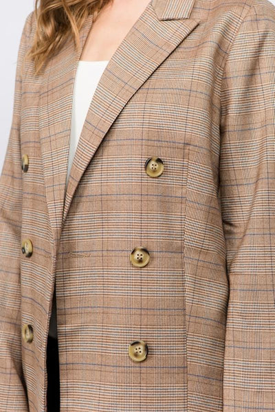 Double Breasted Checker Blazer