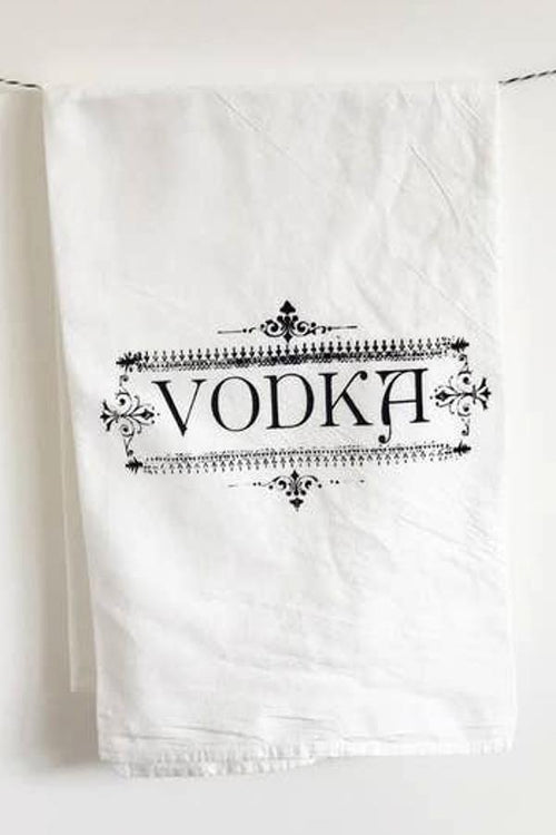 vodka printed tea towel for kitchen