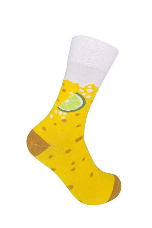 yellow beer and lime fun socks