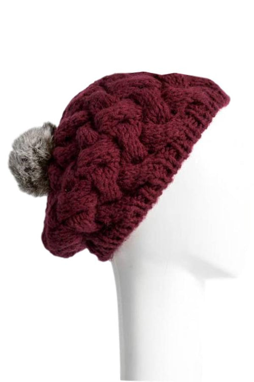 burgundy beret beanie with grey faux fur pom pom