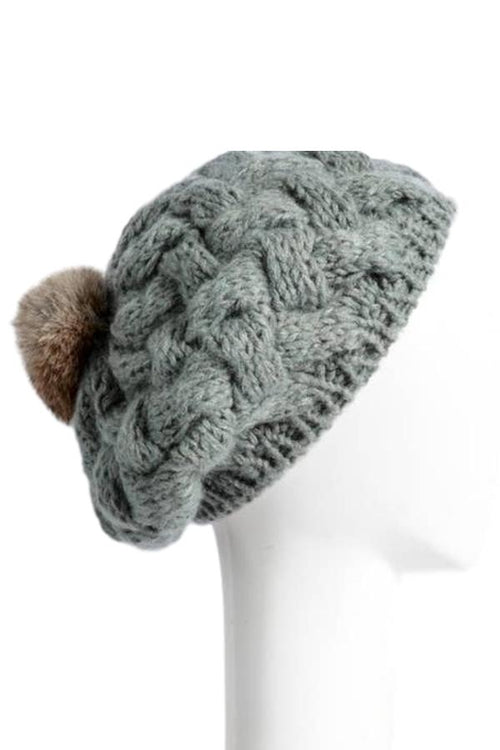 womens grey knit pom hat