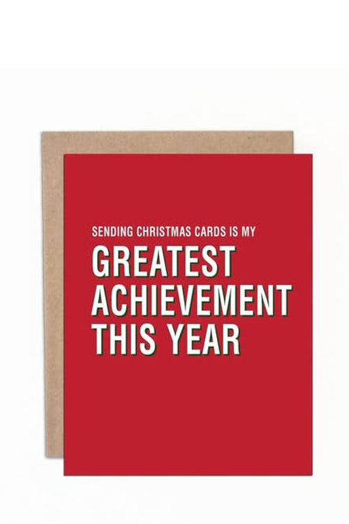 red birthday Card saying Greatest achivement this year