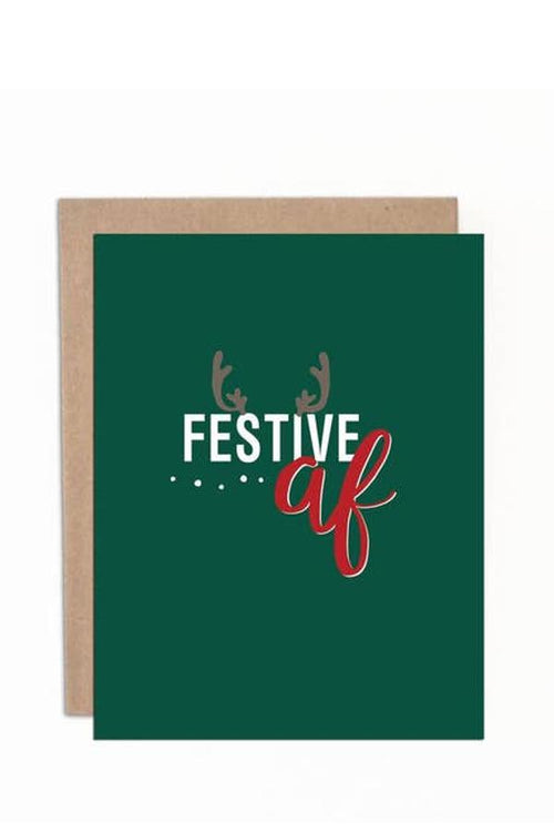green greeting card festive as fuck