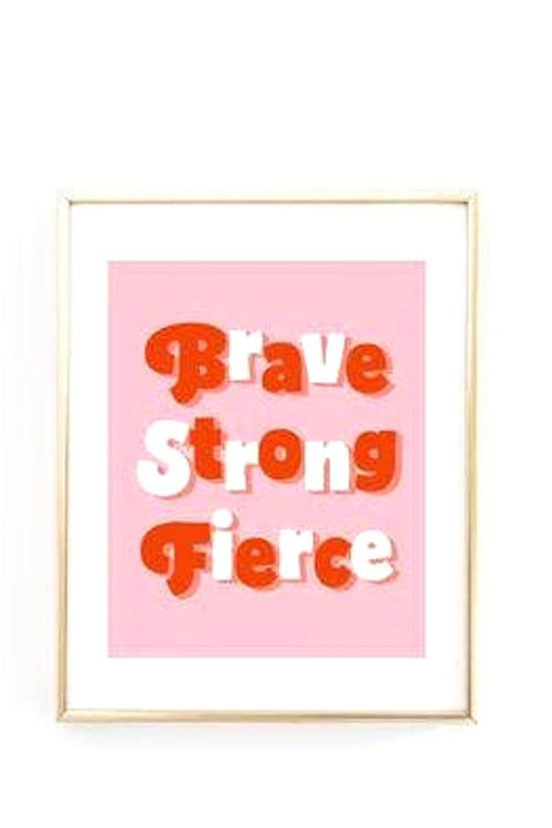 strong brave fierce pink retro print