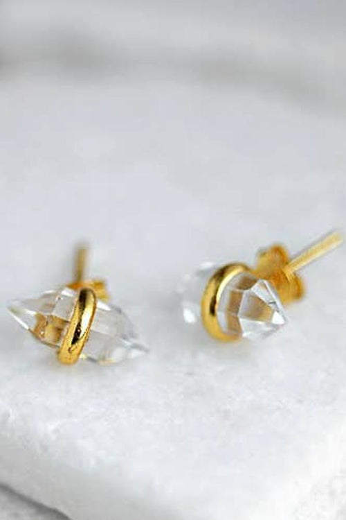 crystal gold stud earrings