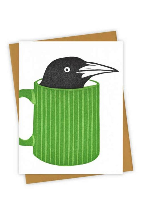 fun greeting card with crow