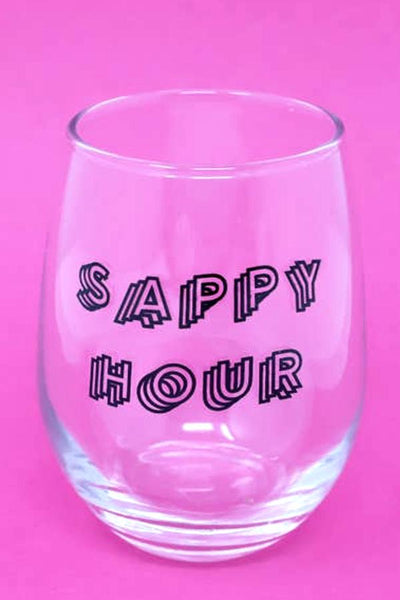 sappy hour wine glass