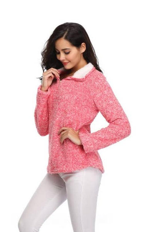 womens pink fleece pullover