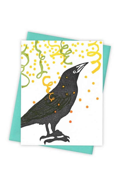 crow celebrating with confetti greeting card