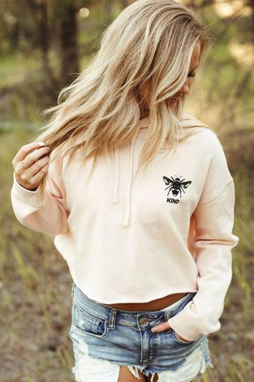 womens pink cropped fleece with bee print