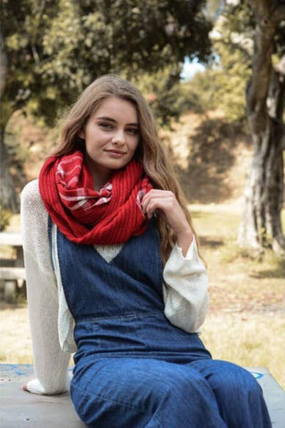 red knit infinity scarf for women