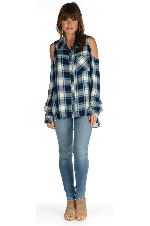 tolani cold shoulder checkered shirt