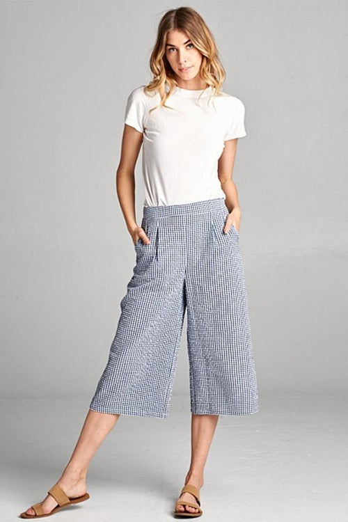 checkered wide leg pants
