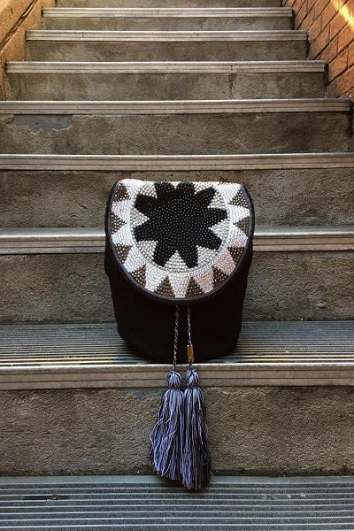 black handmade colombian bag with tassels and rhinestones