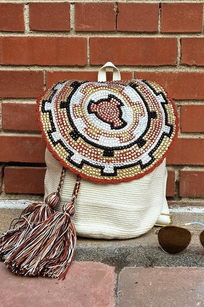 handmade colombian bag with tassels and rhinestones