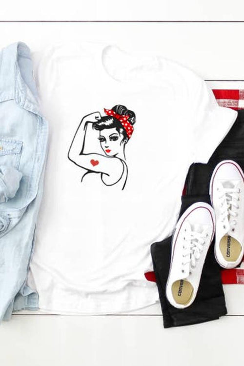 women's white printed tee with rosie the riveter picture