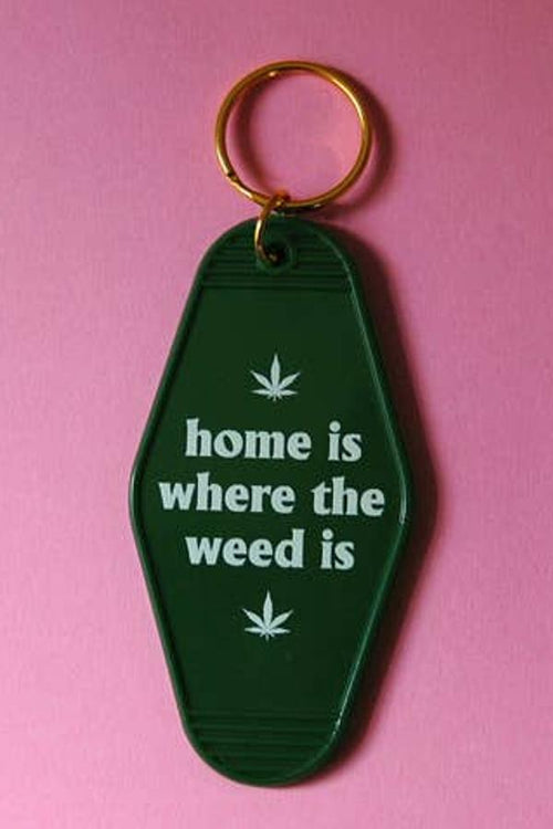 Green retro plastic key chain - home is where the weed is