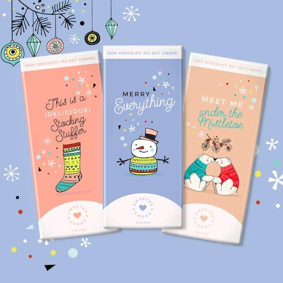 holiday chocolate bars and greeting cards in one