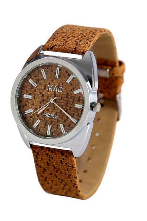cork watch with stainless steel face