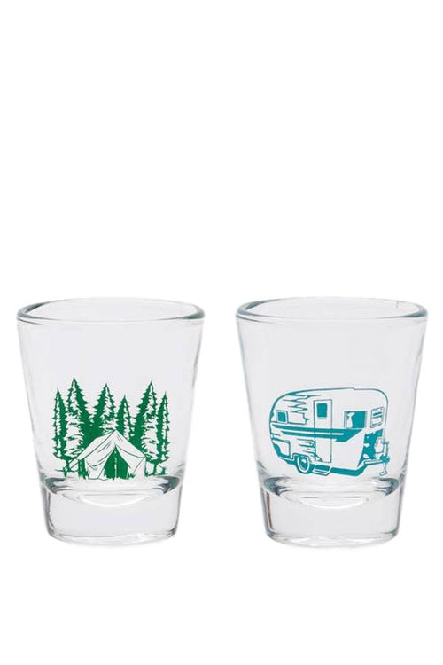 Tent vs. Trailer Shot Glasses