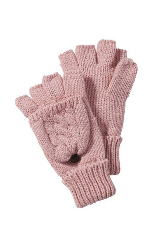 pink womens cableknit gloves fingerless