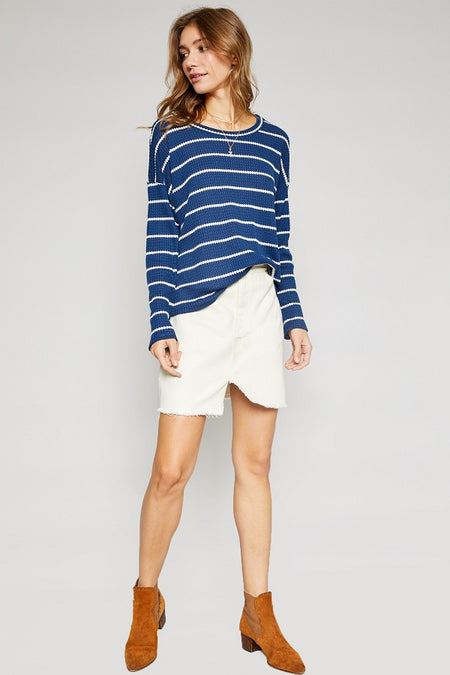 Moto Denim Mini Skirt - White