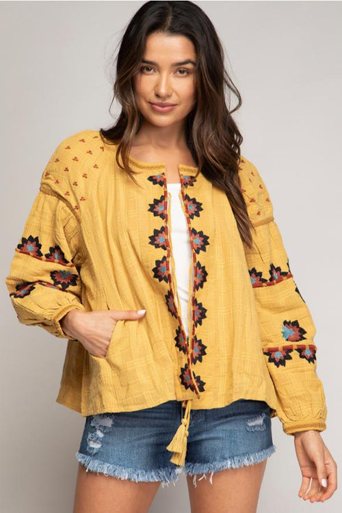 Keila Embroidered Jacket - Mustard