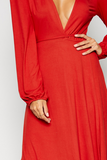 detail of a red maxi dress
