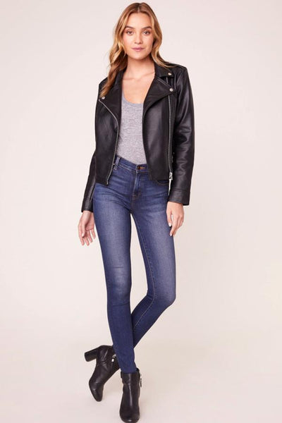 black moto jacket with jeans and tee outfit at womens boutique in denver