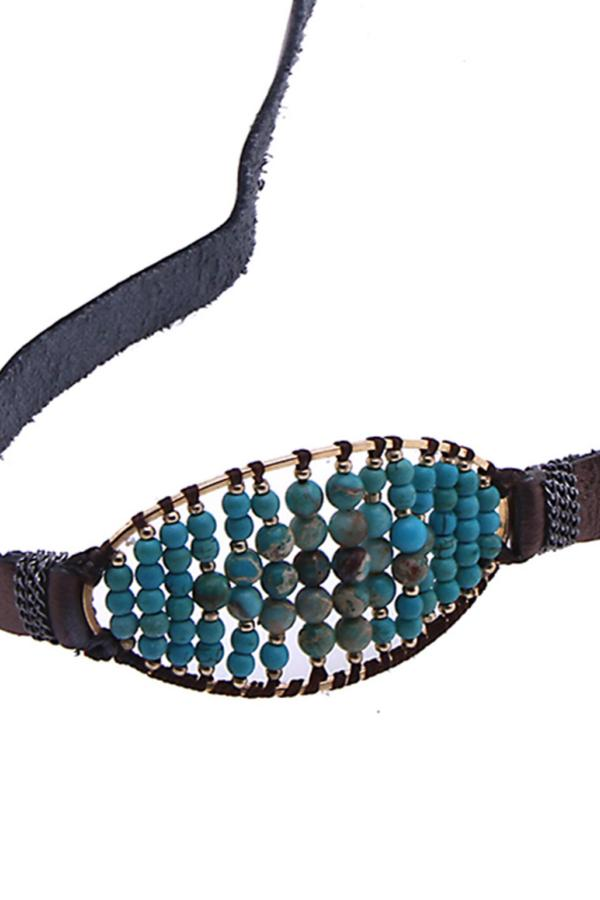 brown leather and turquoise bead bracelet