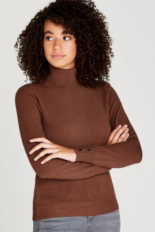 womens brown roll neck sweater
