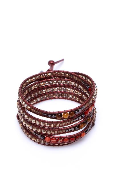 brown and orange 5 tier wrap bracelet