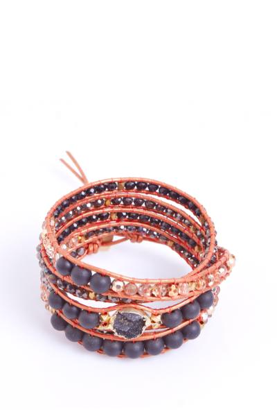 orange and black wrap bracelet with pearls