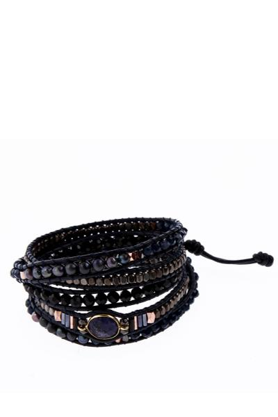 black and brown wrap bracelet