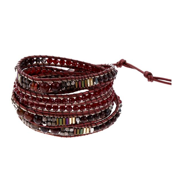 red and brown wrap bracelet