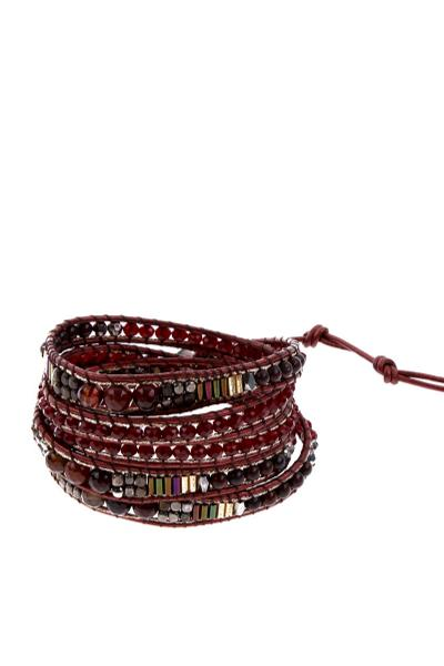 red and brown bracelet