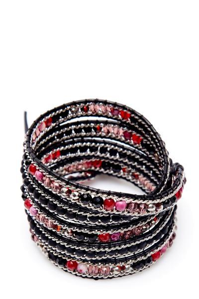 black red and pink wrap bracelet