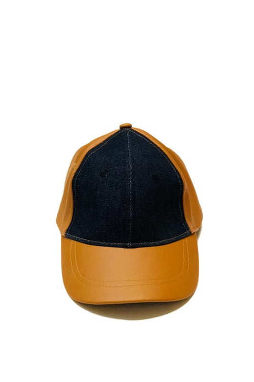 leather denim cap