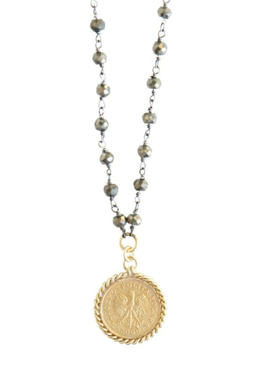 gold coin pendant necklace on pyrite chain