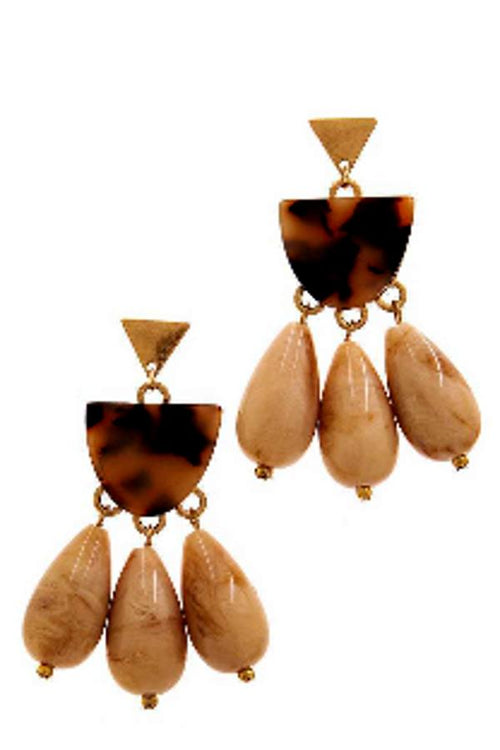 Three Stone Tortoise Drop Earrings